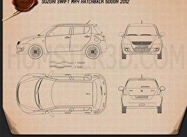 Suzuki Swift hatchback 5-door 2012 Blueprint