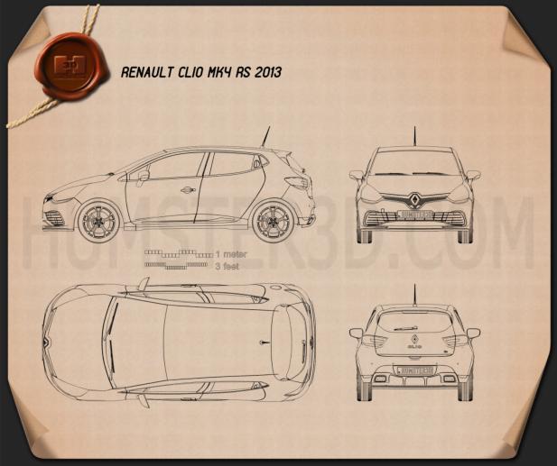 Renault Clio IV RS 2013 Blueprint