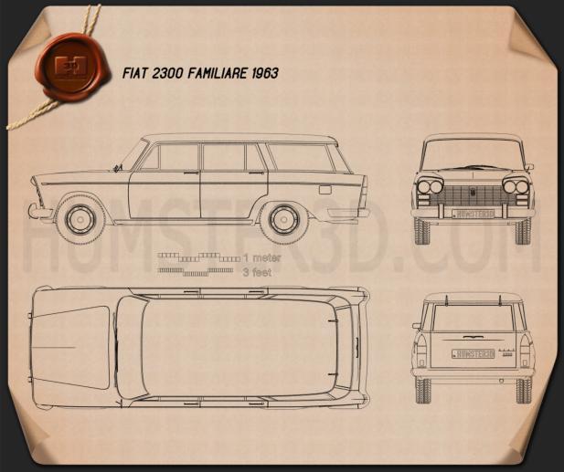 Fiat 2300 Familiare 1963 Blueprint