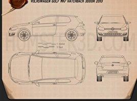 Volkswagen Golf Mk7 3-door 2013 Blueprint