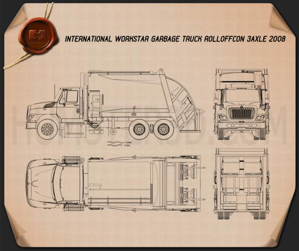 International WorkStar Garbage Truck Rolloffcon 2008 Blueprint