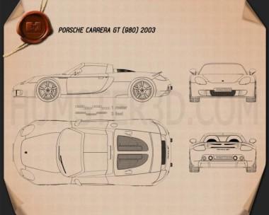Porsche Carrera GT (980) 2004 Blueprint