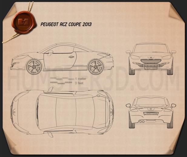Peugeot RCZ coupe 2013 設計図