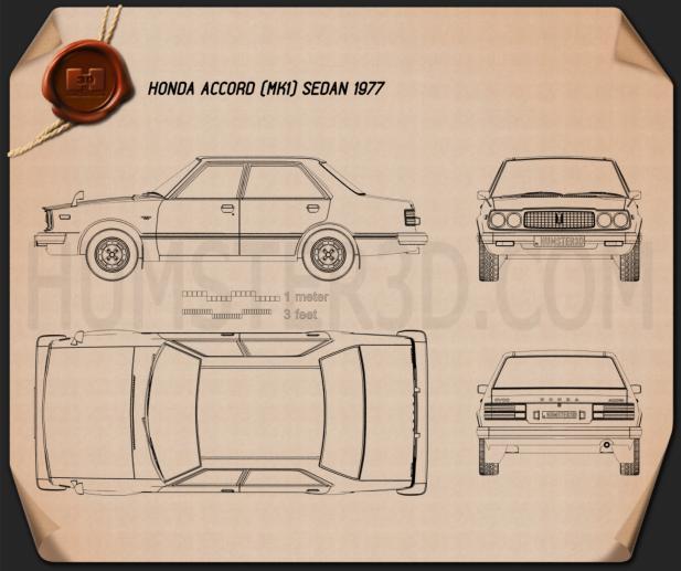 Honda Accord sedan 1977 Blueprint