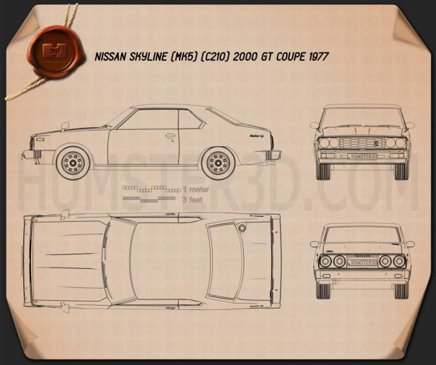 Nissan Skyline (C210) GT Coupe 1977 Blueprint