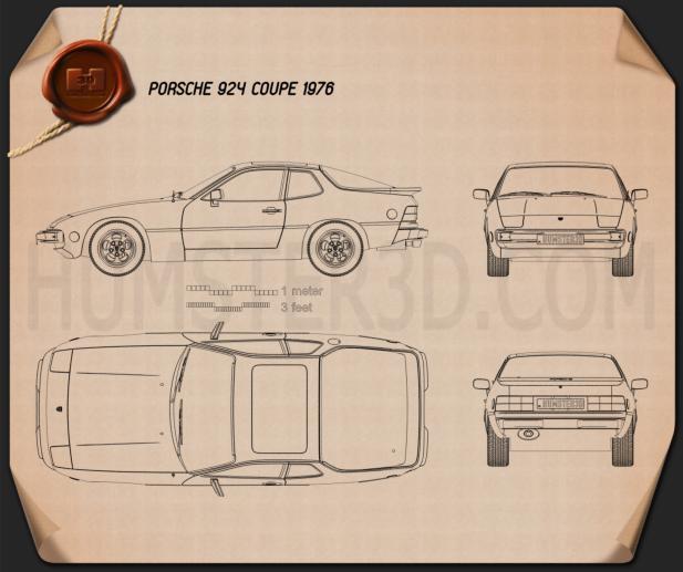 Porsche 924 1976 Blueprint