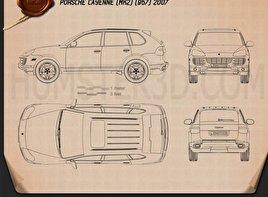 Porsche Cayenne (957) 2007 Blueprint