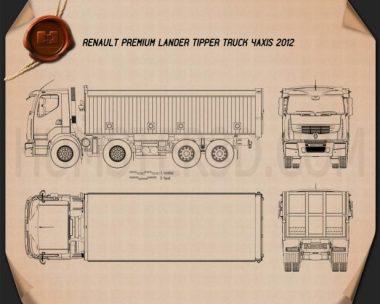 Renault Premium Lander Tipper Truck 2012 Blueprint