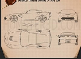 Chevrolet Corvette Stingray (C7) Coupe 2014 Blueprint