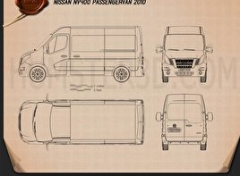 Nissan NV400 Passenger Van 2010 Blueprint