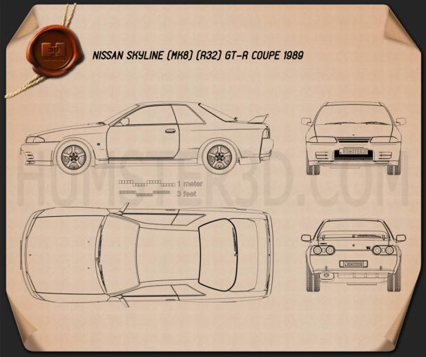 Nissan Skyline (R32) GT-R coupe 1989 Blueprint