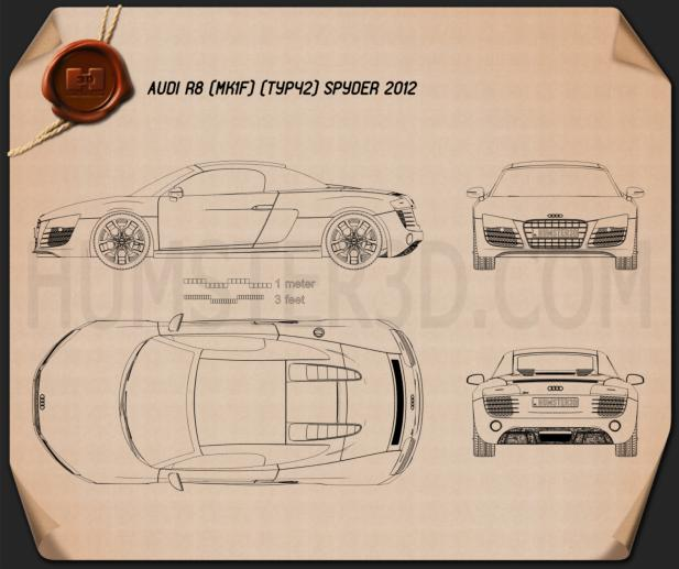 Audi R8 Spyder 2013 Blueprint