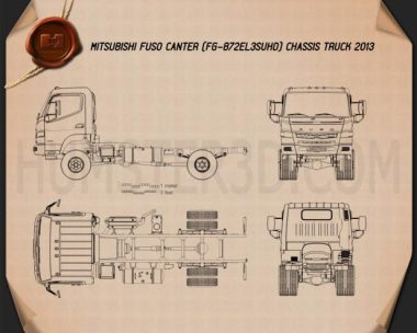 Mitsubishi Fuso Canter Chassis Truck 2013 Blueprint