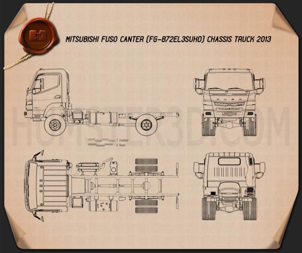 Mitsubishi Fuso Canter Chassis Truck 2013 Blueprint