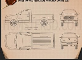 Dodge Ram 1500 Regular Cab Laramie 140-inch Box 2008 Blueprint