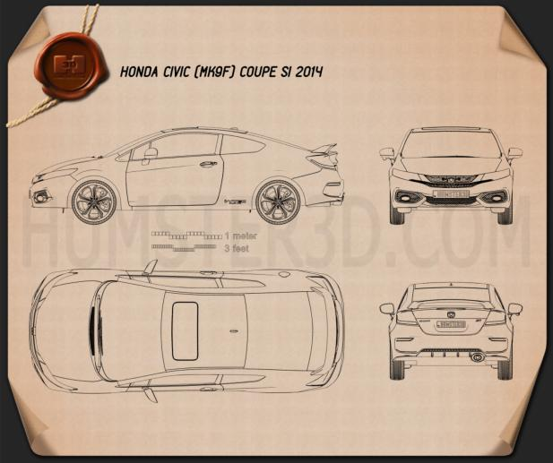 Honda Civic coupe Si 2014 Blueprint