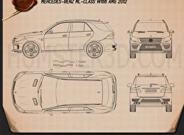 Mercedes-Benz ML-class AMG (W166) 2012 Blueprint