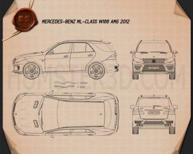Mercedes-Benz ML-class AMG (W166) 2012 Blueprint