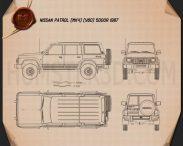 Nissan Patrol (Y60) 5-door 1987 Blueprint 3d model
