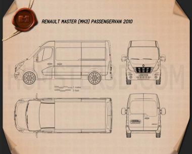 Renault Master Passenger Van 2010 Blueprint