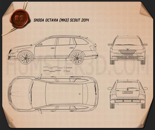 Skoda Octavia Scout 2014 Blueprint