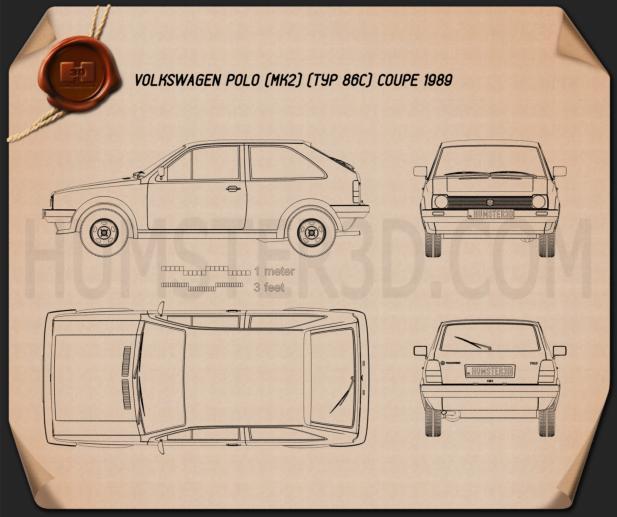 Volkswagen Polo coupe 1990 Blueprint