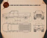 Dodge Ram 3500 Crew Cab Dually Laramie 8-foot Box 2012 Blueprint 3d model