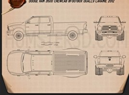Dodge Ram 3500 Crew Cab Dually Laramie 8-foot Box 2012 Blueprint