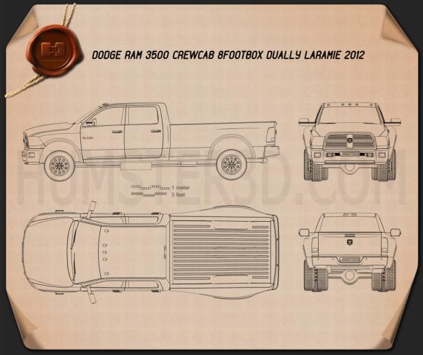 Dodge Ram 3500 Crew Cab Dually Laramie 8-foot Box 2012 Blueprint