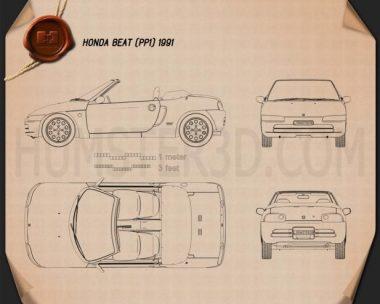 Honda Beat (PP1) 1991 Blueprint