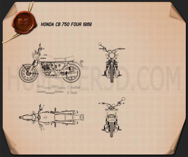 Honda CB 750 Four 1969 Blueprint