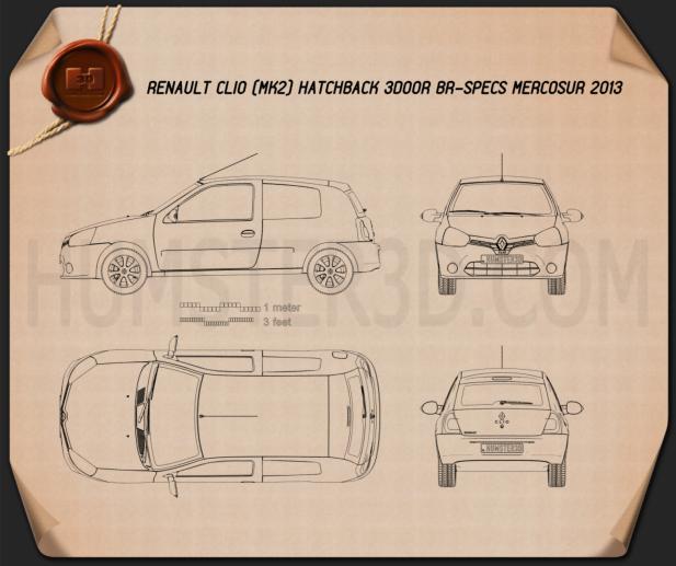 Renault Clio Mercosur 3-door hatchback 2013 Blueprint