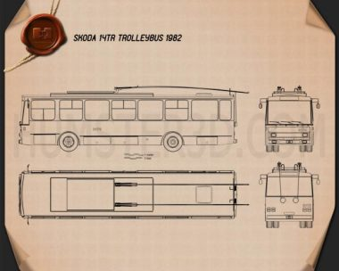 Skoda 14Tr Trolleybus 1982 Blueprint