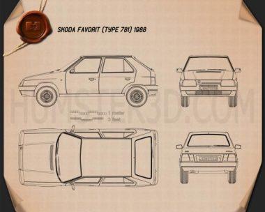 Skoda Favorit 1988 Blueprint