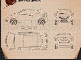 Toyota Yaris 3-door 2012 Blueprint