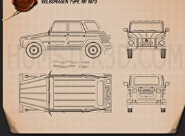 Volkswagen Type 181 1973 Blueprint