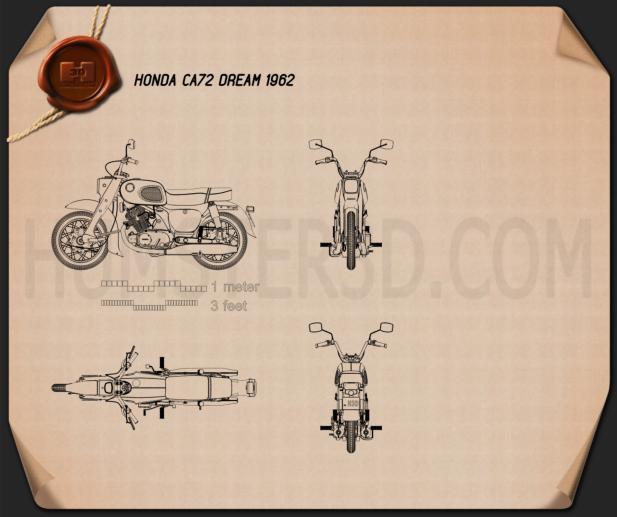 Honda CA72 Dream 1962 Blueprint