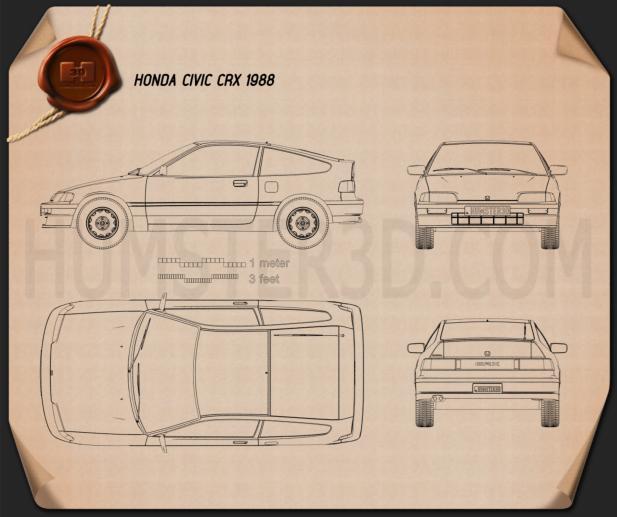 Honda Civic CRX 1988 Blueprint