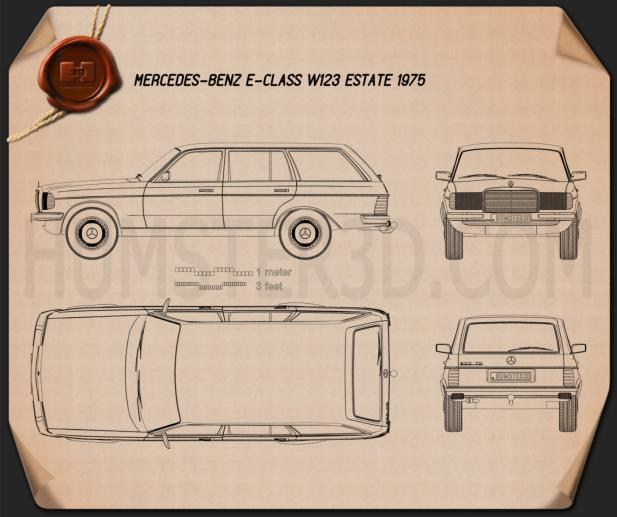 Mercedes-Benz E-class W123 estate 1975 Blueprint