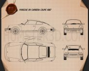 Porsche 911 Carrera Coupe 1987 Blueprint 3d model