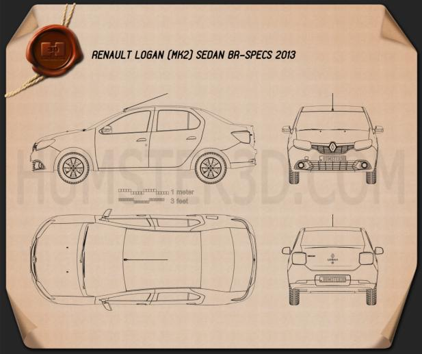 Renault Logan sedan (Brazil) 2013 Blueprint