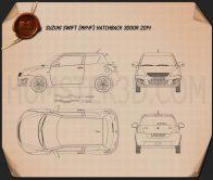 Suzuki Swift hatchback 3-door 2014 Blueprint