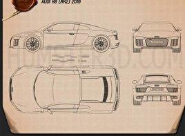 Audi R8 2016 Blueprint