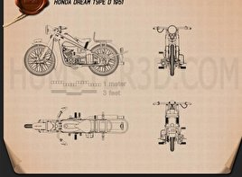 Honda Dream Type D 1951 Blueprint