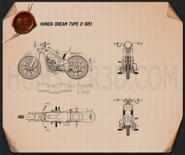 Honda Dream Type D 1951 Blueprint