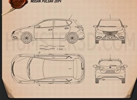 Nissan Pulsar hatchback 2014 Blueprint