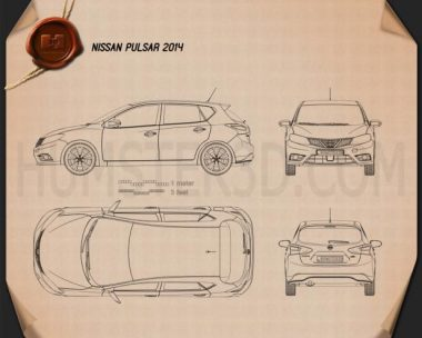 Nissan Pulsar hatchback 2014 Blueprint