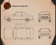 Peugeot 304 coupe 1970 Blueprint 3d model