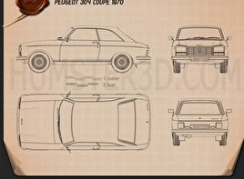 Peugeot 304 coupe 1970 Blueprint