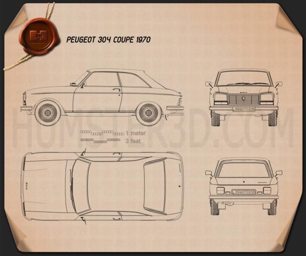 Peugeot 304 coupe 1970 Blueprint